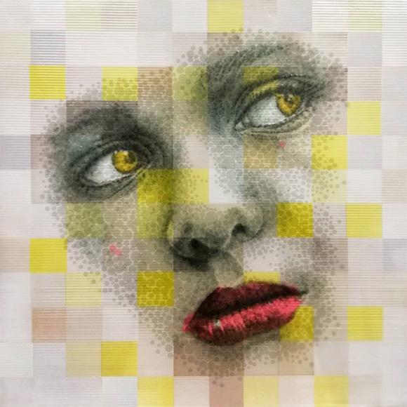 MUJER DE AMARILLO - Collage Puntillista - Josep Mora