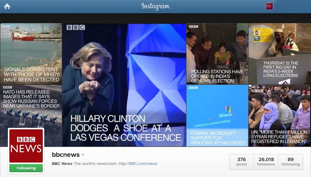 Perfil Instagram de todo un referente en la comunicación: la BBC,