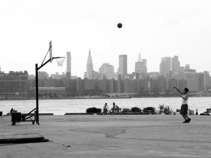 """Basketball Skyline"". East River State Park. Kent Avenue. Williamsburg. New York City. 2009"