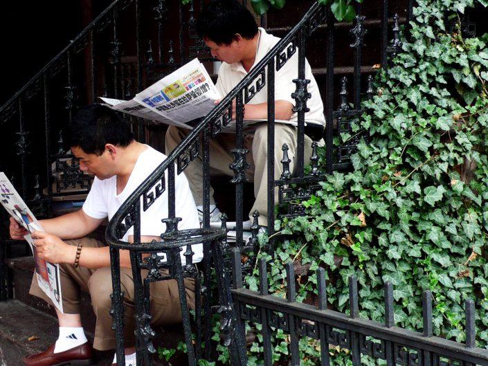 """Asian Newspaper Twins"". East Village. New York City. 2009"