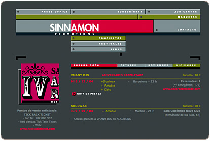 Sinnamon Promotions - Conciertos