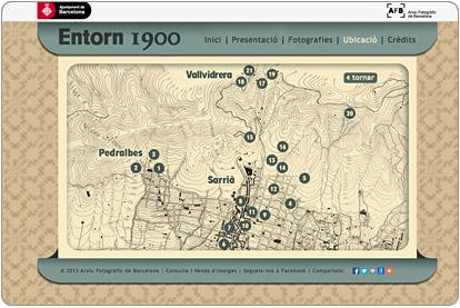 Entorn 1900 - Ubicación de las fotografias en un mapa del s.XIX