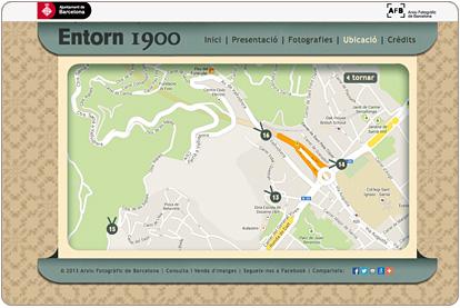 Entorn 1900 - Ubicación de las fotografias en la cartografia actual de Google Maps